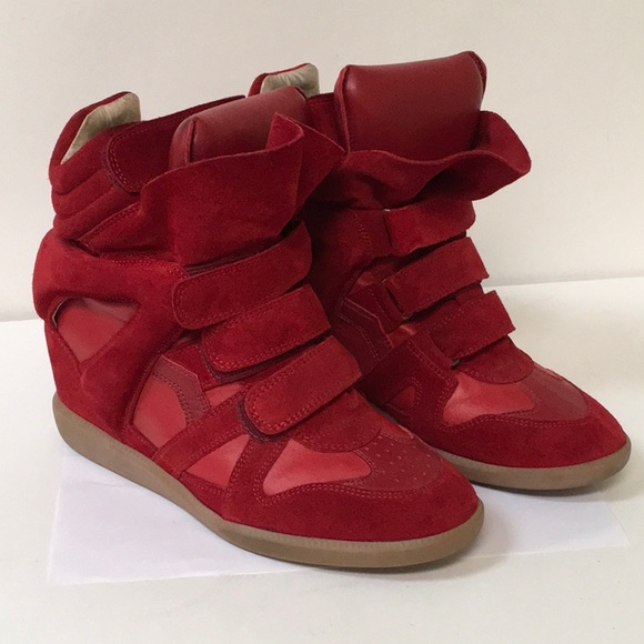 a8a29543a0 Isabel Marant Shoes | Red Bekett Suede Wedge Sneakers | Poshmark